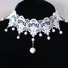 Gothic sexy Lolita Lace faux Bead dangle White dangle Choker necklace NR282
