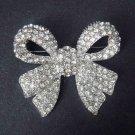 Bridal Dress Bow Corsage Czech Crystal Rhinestone Brooch pin PI413