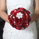 HANDMADE Wedding Brooch Bouquet Artificial Dark Red Flower Faux pearl Posy WB06