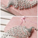 BRIDAL  PROM PEACOCK HEADDRESS CLEAR RHINESTONE HAIR TIARA COMB RB646