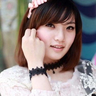 Gothic sexy Lolita Lace Black bow Choker necklace bracelet anklet set BR365
