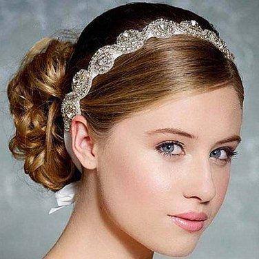 Bridal dance Rhinestone applique ribbon headband Princess Prom Tiara HR268