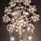Bridal Vintage style Corsage Czech Dangle crystal Brooch pin Pi167