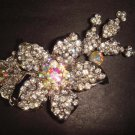 Bridal Crystal Corsage Czech flower Rhinestone Brooch pin PI252