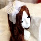 Bridal Rhinestone Faux pearl headpiece Headband feather Hair net HR239