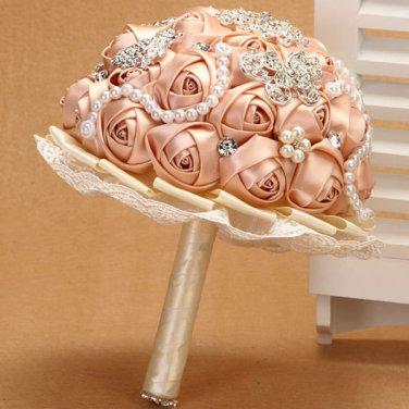 22 cm Bridal Brooch Bouquet Artificial Flower Faux pearl Posy WB08