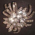 Bridal Faux pearl Flower Corsage Czech Rhinestone Brooch pin PI484