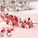 Bridal Red pink Rhinestone silver applique headband Earring Tiara set HR317