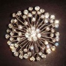 Bridal Crystal Bling round Corsage Czech Rhinestone Brooch pin Pi209