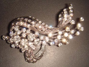 Bridal Crystal Vintage style Corsage Czech Rhinestone Brooch pin PI33