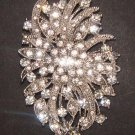 Bridal dress Corsage Czech crystal cake topper Rhinestone Brooch pin PI471