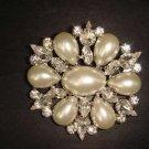 Bridal Crystal Faux Pearl Corsage Czech Rhinestone Brooch pin Pi177