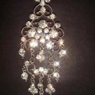 Bridal Crystal Corsage Czech Chandelier dangle Rhinestone Brooch pin PI149