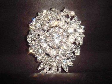 Bridal vintage style Corsage Czech Rhinestone Brooch pin PI236