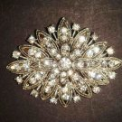 Bridal Crystal Corsage Czech  scarf prom dress Rhinestone Brooch pin PI485