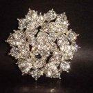Bridal cake topper dress Rhinestone Corsage Czech  Brooch pin PI141