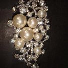 Huge Bridal Rhinestone Corsage Czech Crystal dangle Faux pearl Brooch pin PI360
