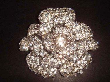 Bridal Flower Corsage Czech Rhinestone crysytal Brooch pin PI280