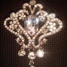 Bridal Vintage style dangle Corsage Czech Rhinestone Brooch tiara pin PI430
