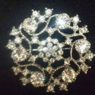 Bridal Cake topper Corsage Czech crystal Rhinestone Brooch pin PI438