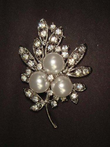 Bridal Faux Pearl Corsage Czech Rhinestone Brooch pin PI414