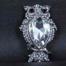Bridal Rhinestone Owl Corsage Czech crystal scarf cake Brooch pin PI555