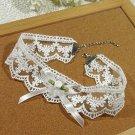 Gothic Lolita Crochet  Lace ribbon white Flower Choker necklace NR292