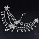 Bridal Rhinestone crystal dangle faux pearl forehead Maang tikka Headpiece HR336
