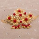 Bridal Chinese traditional gold tone red bead rose dangle Flower Hair comb RB672