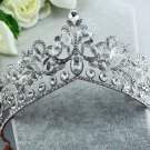 Bridal Rhinestone silver tone clear Crystal crown Headpiece Hair tiara HR340