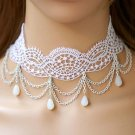 Bridal white Lolita Lace dangle Flower prom white necklace NR471
