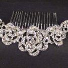 Bridal Rhinestone Crystal Flower rose Headpiece Hair tiara Comb RB550
