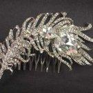 Bridal Clear Rhinestone feather Headpiece crystal Hair Tiara Comb RB572