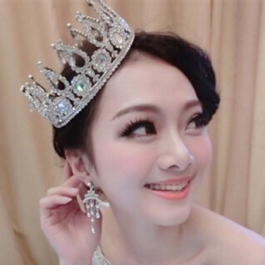 Bridal Clear Rhinestone crown silver tone headdress topknot Hair tiara HR368