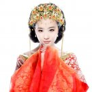 Bridal Chinese Phoenix Crown gold tone red bead Flower Hair comb tiara RB670