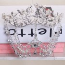 Bridal Faux pearl Rhinestone crystal dangle forehead Maang tikka tiara HR353