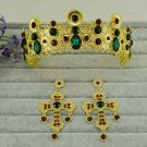 Bridal Rhinestone gold tone Baroque style Crystal crown tiara earrinf set HR342