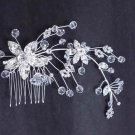 BRIDAL FLOWER HEADDRESS CLEAR RHINESTONE HAIR TIARA COMB RB640