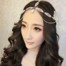 Bridal Rhinestone crystal dangle leave forehead Maang tikka Headpiece HR349A