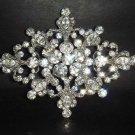 Bridal gold silver tone rhombus  Czech crystal Rhinestone Brooch pin Pi171