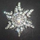 Bridal Silver tone dress decoration Czech Clear Rhinestone Brooch pin PI415