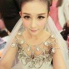 2 item Bridal crystal Rhinestone shoulder deco necklace bib tiara crown NR445