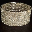 8 row Bridal  Clear Crystal Rhinestone Stretch Wristband Bangle Bracelet BR16