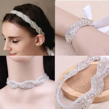 3 item Bridal Rhinestone applique rhinestone headband bracelet necklace HR278