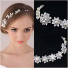 Bridal Clear Rhinestone Crystal White Lace faux pearl tiara headband HR337