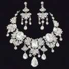Bridal Clear Rhinestone crystal silver tone necklace earrring set NR483