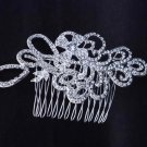 BRIDAL FLOWER HEADDRESS CLEAR RHINESTONE HAIR TIARA COMB RB637