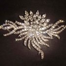 Huge Bridal Dress crystal Corsage Czech Clear Rhinestone Brooch pin PI243
