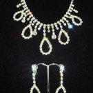 Bridal  Clear Crystal rhinestone silver tone necklace earring set NR111