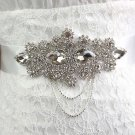 Crystal Bridal Sash-Rhinestone waist dangle applique Dress Belt HR366